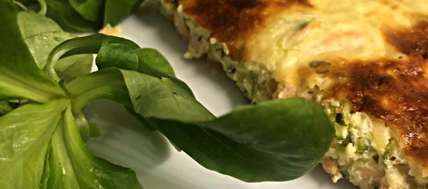 Quiche sans pâte saumon courgette chèvre frais